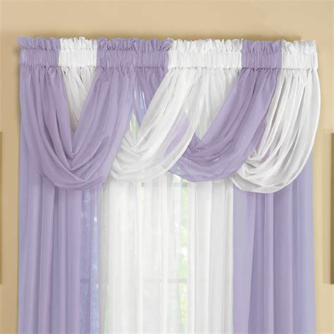 sheer curtain valances sheer scoop valance curtains 2 pc by collections etc ebay