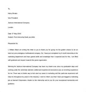 Sample Internship Thank You Letter   9  Free Documents in