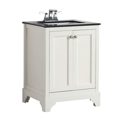 Black Bathroom Vanity With White Marble Top Simpli Home Cambridge 24 In Vanity In White With Granite Vanity Top In Black 4axcvcbw 24 The