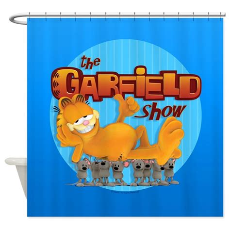 garfield shower curtain garfield show logo shower curtain by garfield