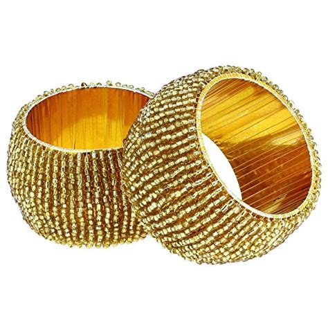 beaded serviette rings handmade indian gold beaded napkin rings set of 6 rings