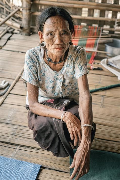 old woman with tattoos portrait of tattooed myanmar editorial stock