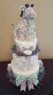 Baby giraffe diaper cake adorable baby shower centerpiece gift mint