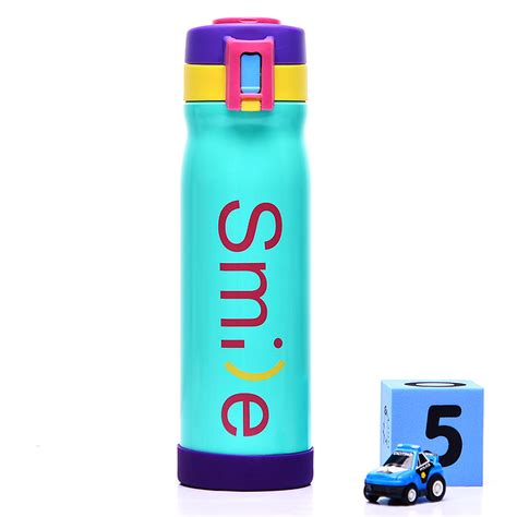 botol minum thermos stainless steel my smile 500ml blue jakartanotebook