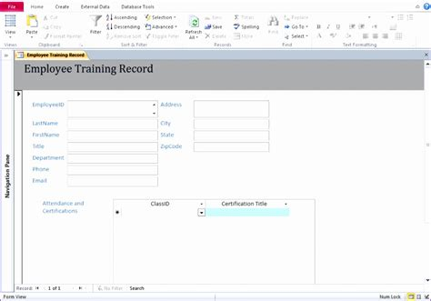 10 Training Database Template Excel Exceltemplates Exceltemplates Microsoft Access Employee Database Template