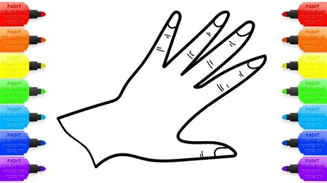 coloring pages of hands with nails rainbow hand shiny nails with glitter drawing and
