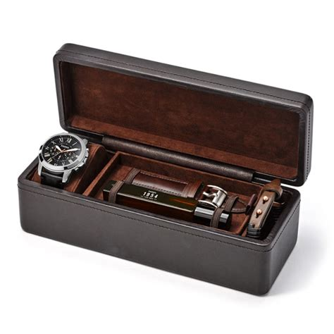 Promo Fossil Fs5000 Leather Vintage Chronograph grant leather gift set fossil