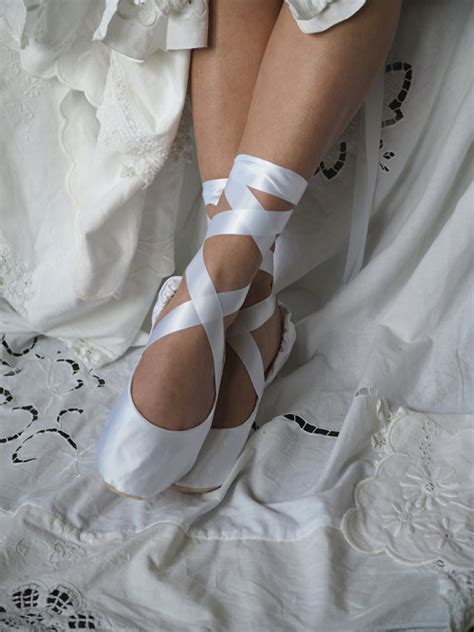 White Satin Bridal Shoes by White Satin Bridal Ballet Slippers White By