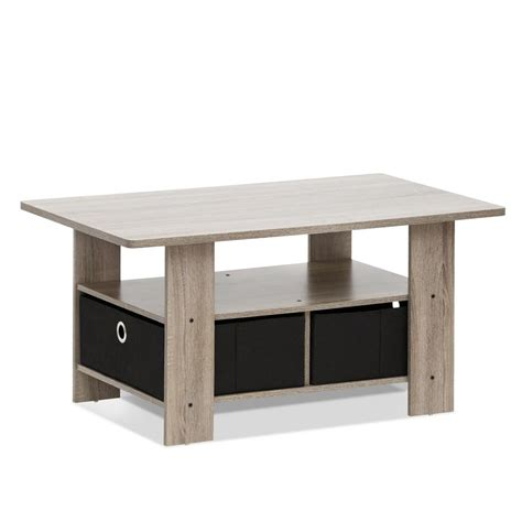 Furinno Home Living French Oak Grey And Black Built In Furinno Coffee Table