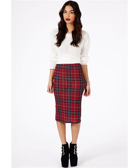 Tartan Midi Flare Skirt lyst missguided amalize tartan midi pencil skirt in