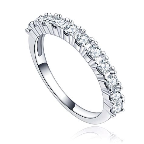 pave cubic zirconia platinum plated engagement ring
