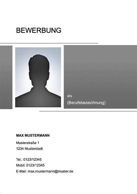 Xing Bewerbung Deckblatt Deckblatt Bewerbungsvorlage 2017 18 Meinebewerbung Net