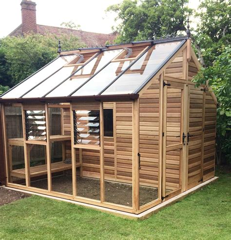cedar centaur shed greenhouse combo  greenhouse