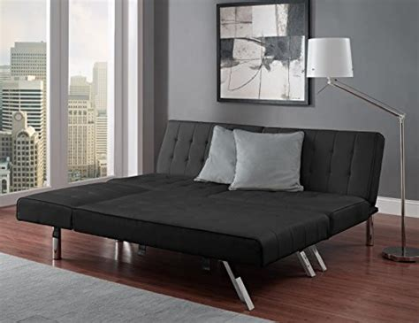 dhp emily futon sofa dhp emily linen chaise lounger stylish design with chrome