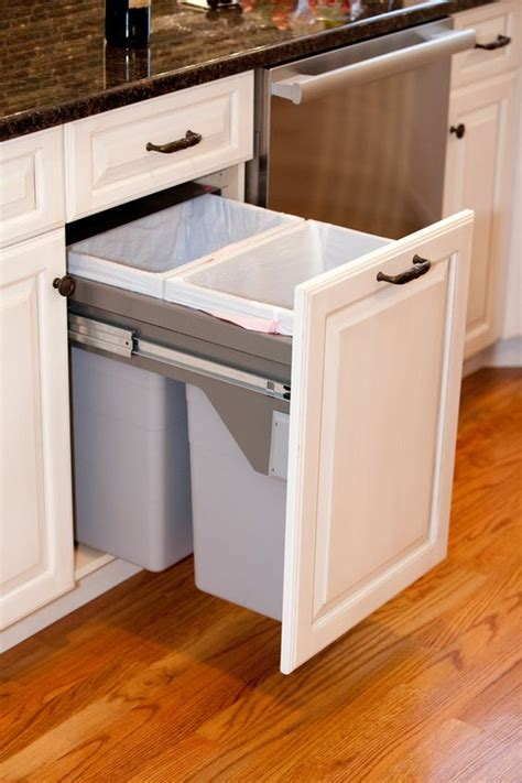 kitchen cabinet with trash bin 29 sneaky ways to hide a trash can in your kitchen digsdigs