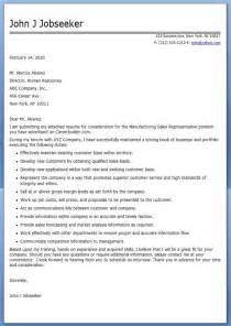Sles Of Cover Letters For Application by Manufacturing Sales Cover Letter Resume Downloads
