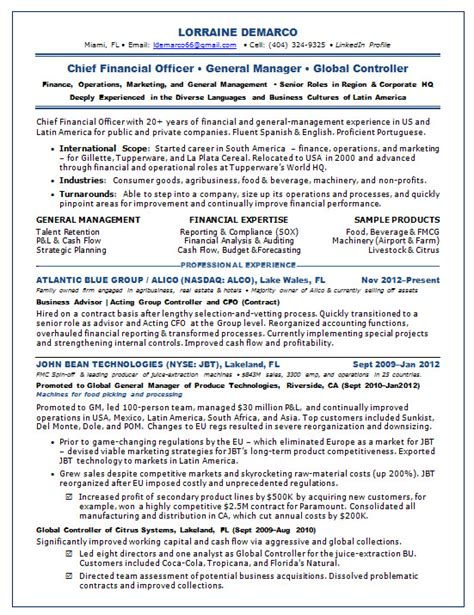 Cfo Resume by Cfo Resume Sle Chief Financial Officer Resume Sle