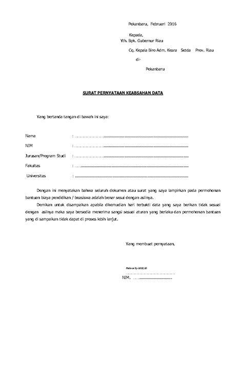 contoh surat pernyataan keabsahan data terbaru saat ini
