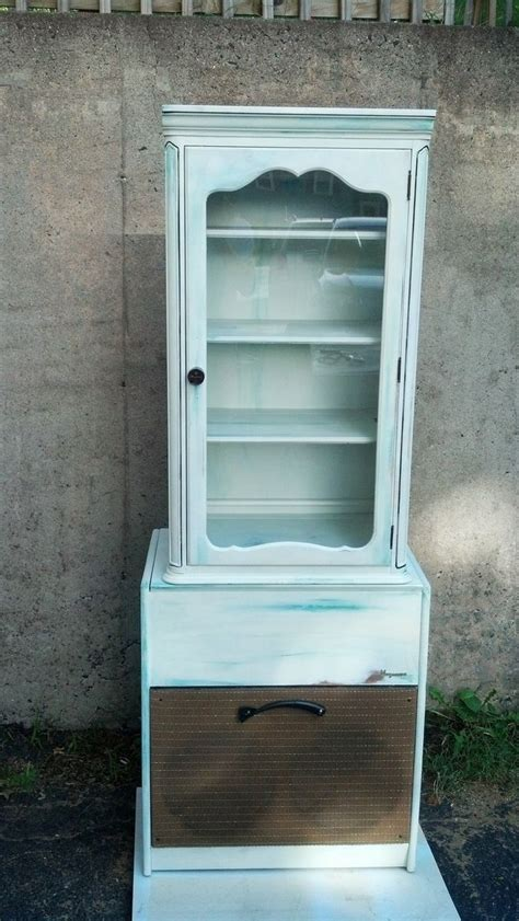 custom record player and cabinet repurposed as hutch
