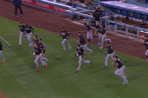 bench clearing tempers flare in los angeles marlins lose fifth straight game 7 2 fish stripes
