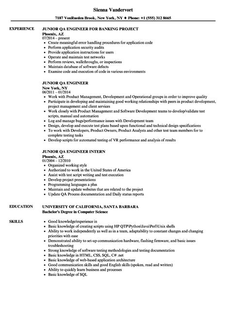 Qa Engineer Resume by Junior Qa Engineer Resume Sles Velvet