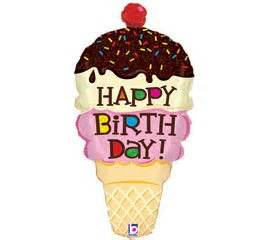 amazon com ice cream cone shaped happy birthday 33 quot foil
