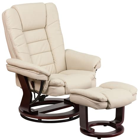 Leather Recliner With Ottoman Contemporary Beige Leather Recliner Ottoman W Swiveling Mahogany Wood Base