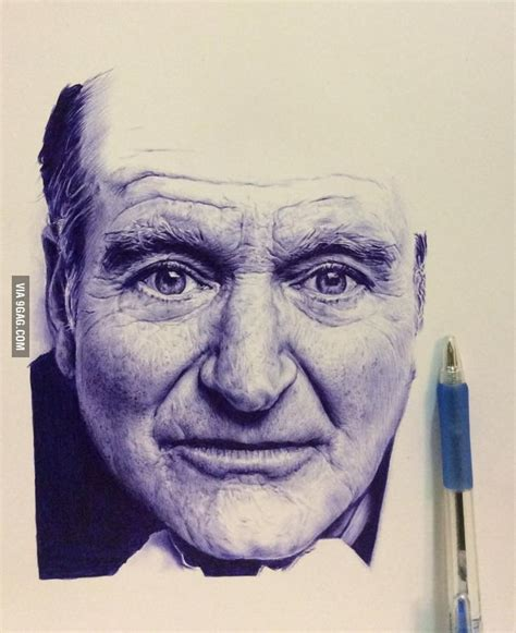 9gag Sketches by Robin Williams Ballpoint Pen Drawing 9gag