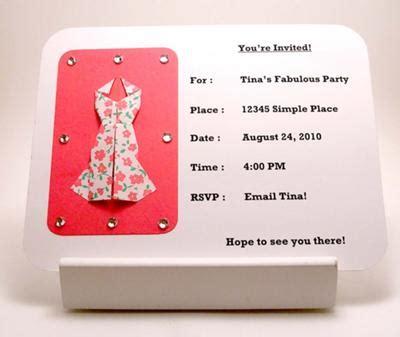 origami dress invitation