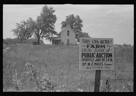 the great depression housing foreclosures sign advertising farmland auction new carlisle ohio this