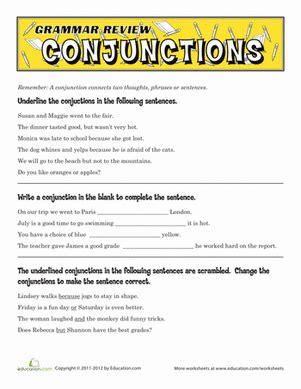 printable english worksheets 5th grade grammar review conjunctions worksheet education com