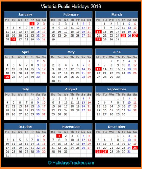 Printable Calendar Victoria 2016 | victoria australia public holidays 2016 holidays tracker
