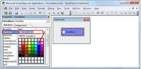 color properties vba backcolor property of checkbox explained with exles