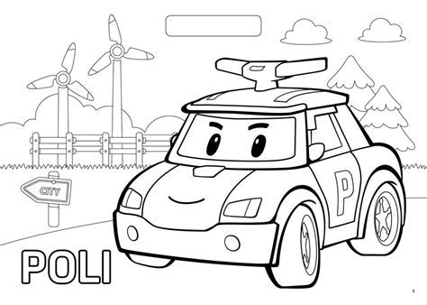 Robocar Poli Brooms Town Adventures Colouring Block With