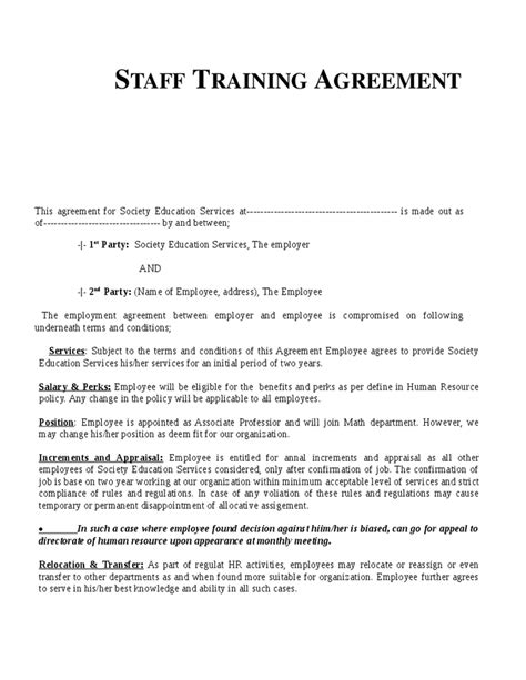Training Agreement Form Free Printable Personal Training Contract Template Form Generic Download Generic Employment Contract Template