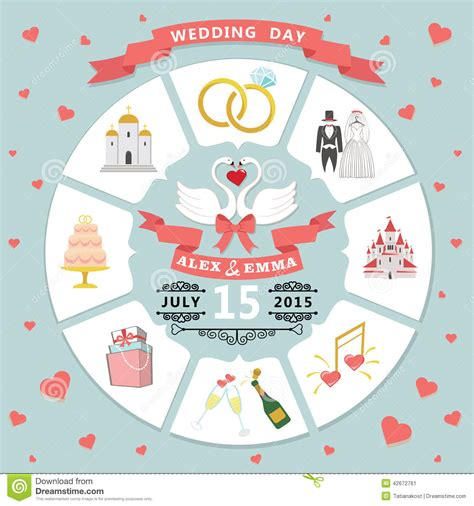 Wedding Invitation In Infographic Style Swans Couple Stock Vector Image 42672761 Wedding Infographic Template