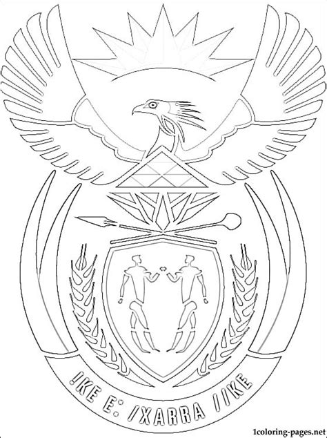 south africa coat of arms coloring page coloring pages