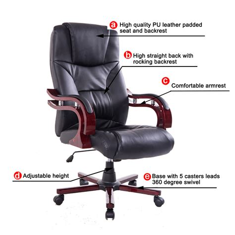 wood and leather swivel desk chair high back ergonomic executive task desk office chair