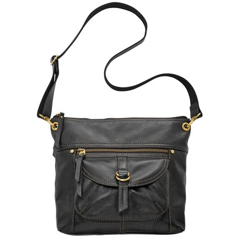 Fossil Crossbody Model 705b lyst fossil leather top zip crossbody in black