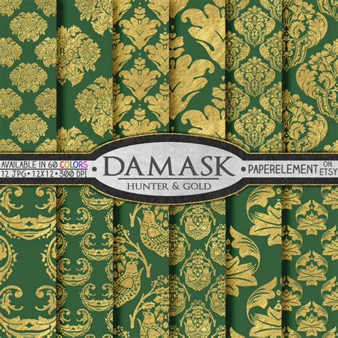 Feeling Green Gold by Green Damask Scrapbook Paper Www Imgkid The Image