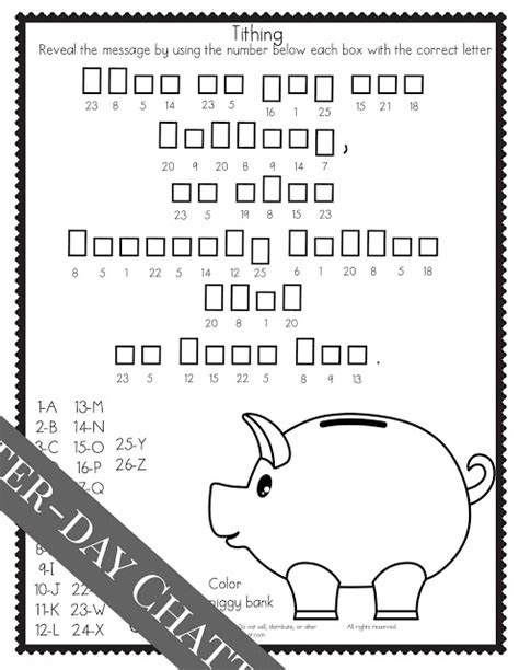 lds coloring pages on tithing latter day chatter primary 3 lesson 42 includes a secret
