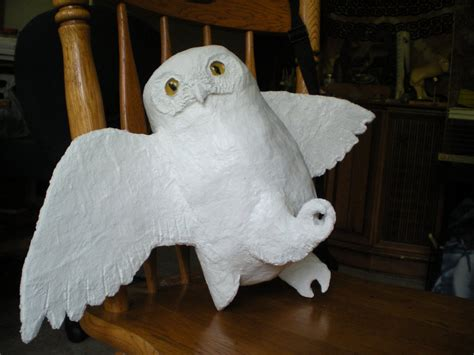 wip hedwig papier mache clay owl by shadowind on deviantart