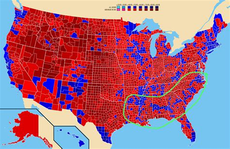 us map and blue counties united states what is this line of counties voting for