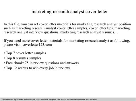 research analyst cover letter marketing research analyst cover letter