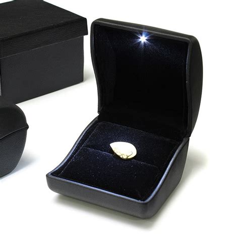 luxury black pu leather led lighted ring box jewelry