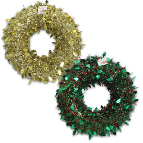 wholesale plastic foil christmas wreath assorted 17 quot d
