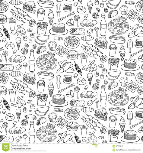 doodle food vector free fast food doodle seamless pattern stock vector image