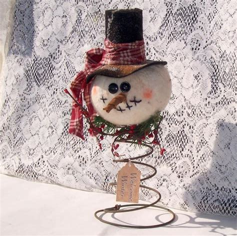 primitive country snowman tree topper primitive snowman nodder make do ornie tea dyed tree topper