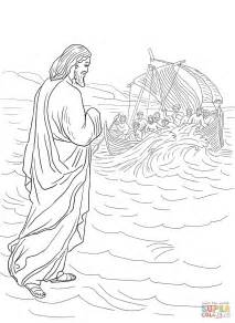 coloring pages jesus walks on water jesus walking on the water coloring page free printable