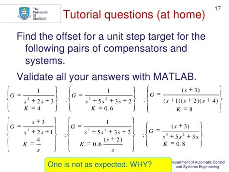 matlab tutorial questions systems analysis control steady state errors